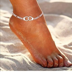 Silver Handcuff Anklet Figaro Chain Handcuff Ankle Bracelet